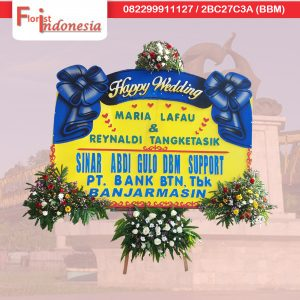 jual karangan bunga happy wedding di samarinda florist indonesia