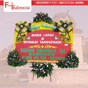 toko karangan bunga papan happy wedding di samarinda SMR - 13 florist indonesia